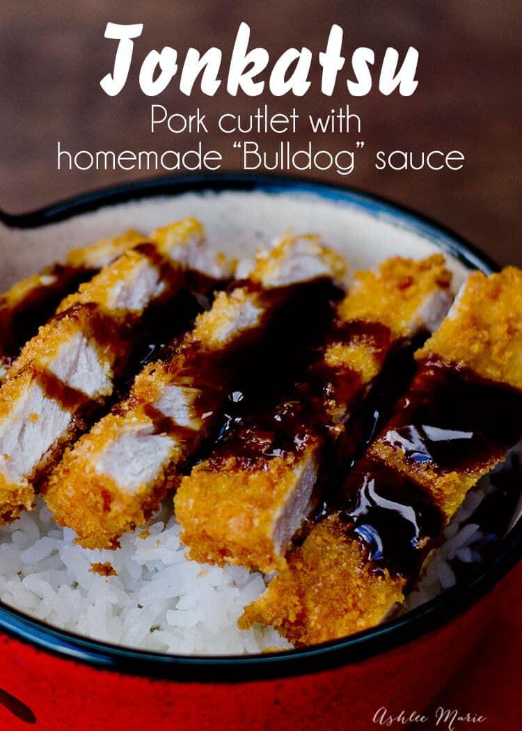 tonkatsu - japanese breaded pork cutlet with homemade bulldog sauce