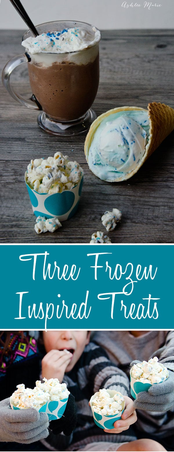 three recipes inspired by disneys frozen, peppermint ice cream, candied popcorn snowballs and frozen hot chocolate