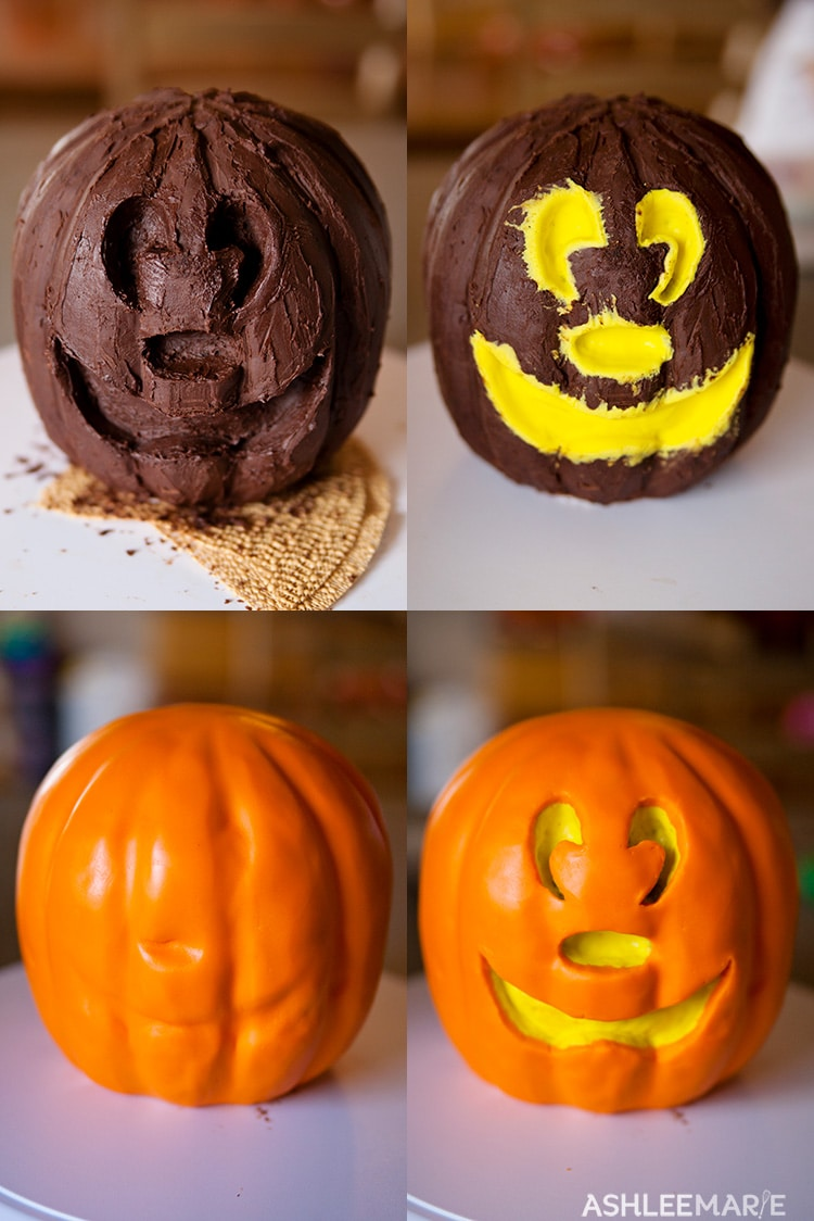carved mickey mouse jack o lantern cake