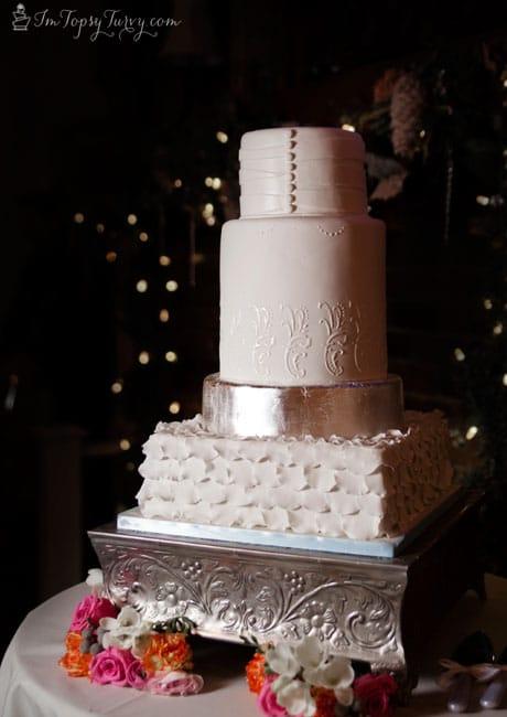 silver-leaf-pleated-ruffled-fondant-wedding-cakes