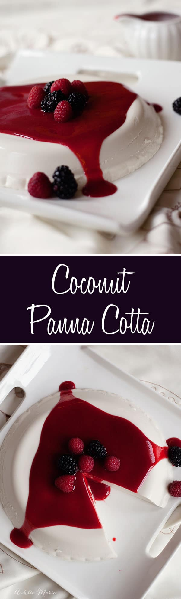 one of my all time favorite desserts is this coconut panna cotta. A smooth creamy texture with amazing coconut flavor, served with a raspberry and blackberry coulis it never lasts long
