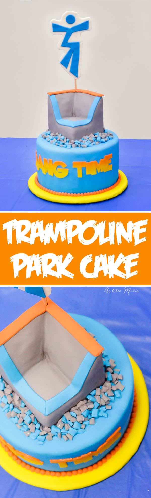 a hand carved cake for a local trampoline warehouse