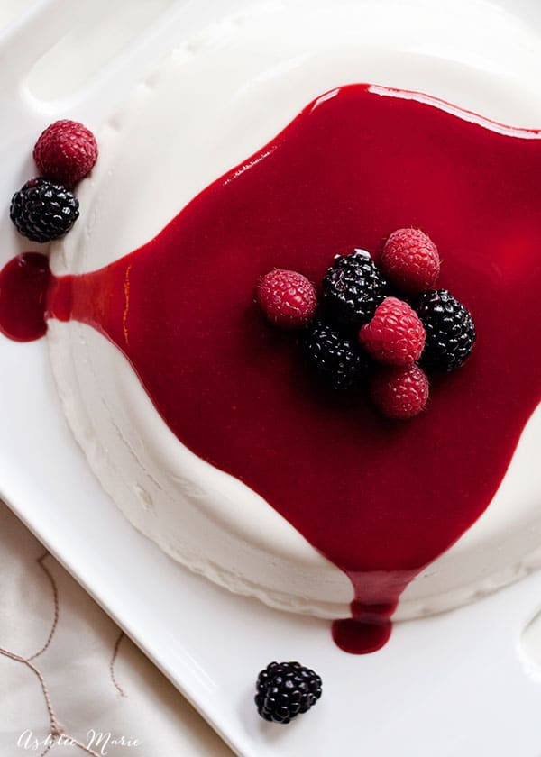 blackberries, raspberries, and a berry coulis are the perfect topping and balance for this elevated dessert. this coconut panna cotta has an amazing texture and flavor that everyone loves