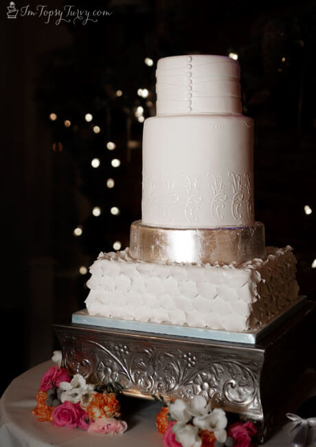 silver fondant wedding cake silver leaf fondant and lace wedding cake ashlee 19860