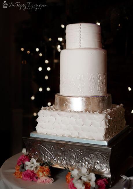 silver leaf fondant and lace wedding cake