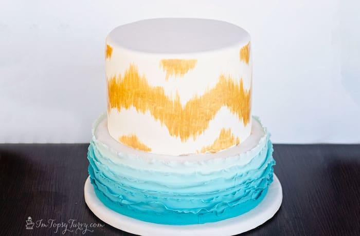 hand-painted-chevron-ombre-ruffle-birthday-cake