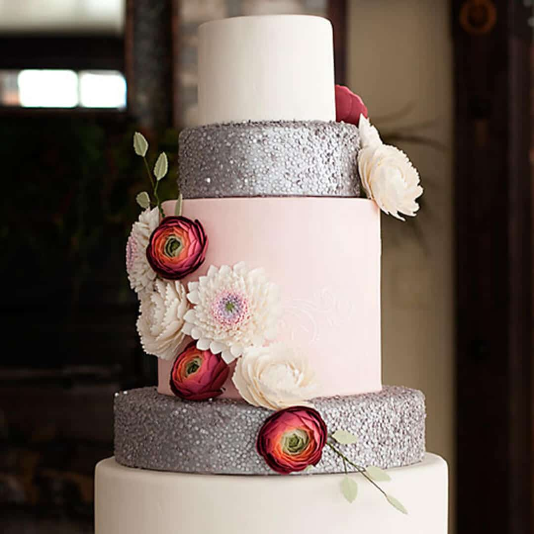 Gumpaste Flowers For Wedding Cakes: Edible Sequins & Gumpaste Flowers Wedding Cake