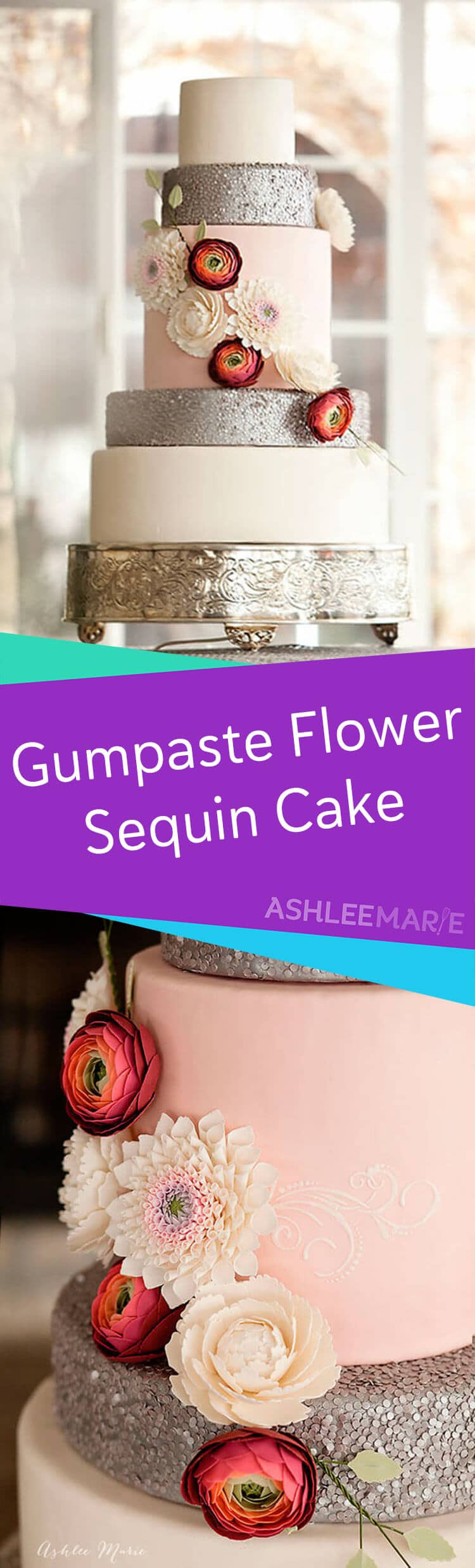 gumpaste flower edible sequin cake