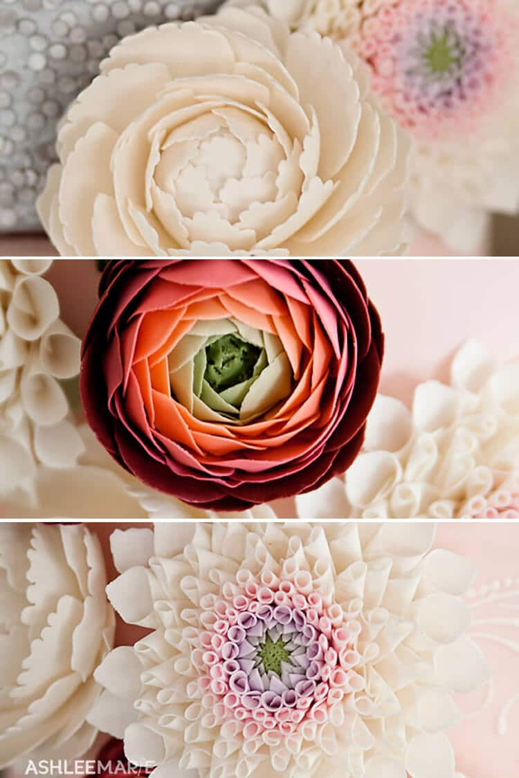 three different gumpaste flowers peonies ranunculus dahlias
