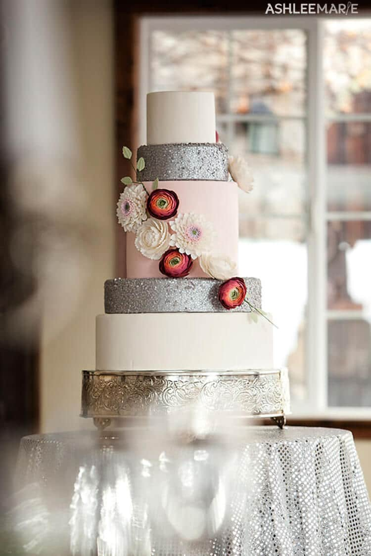 winter wedding cake and gumpaste flowers