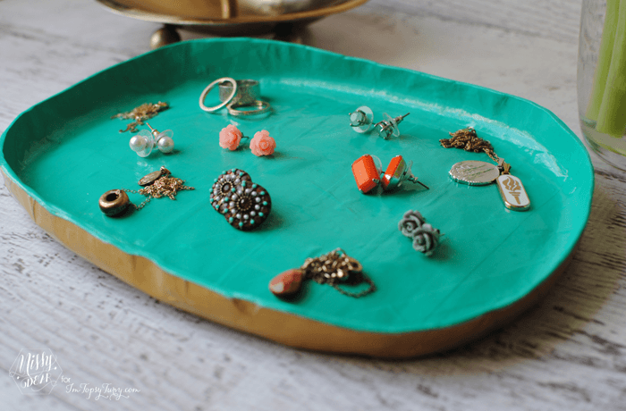 Paper mache jewelry tray tutorial ashlee marie for How to make paper mache jewelry