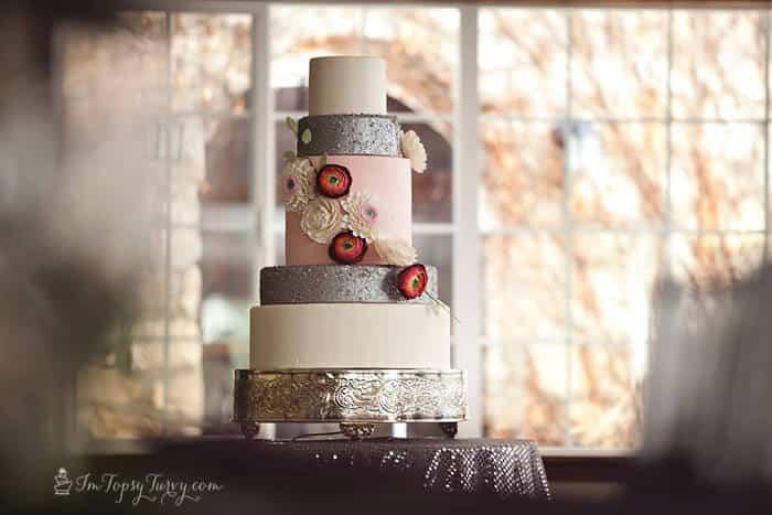 Edible Sequins & Gumpaste Flowers Wedding Cake
