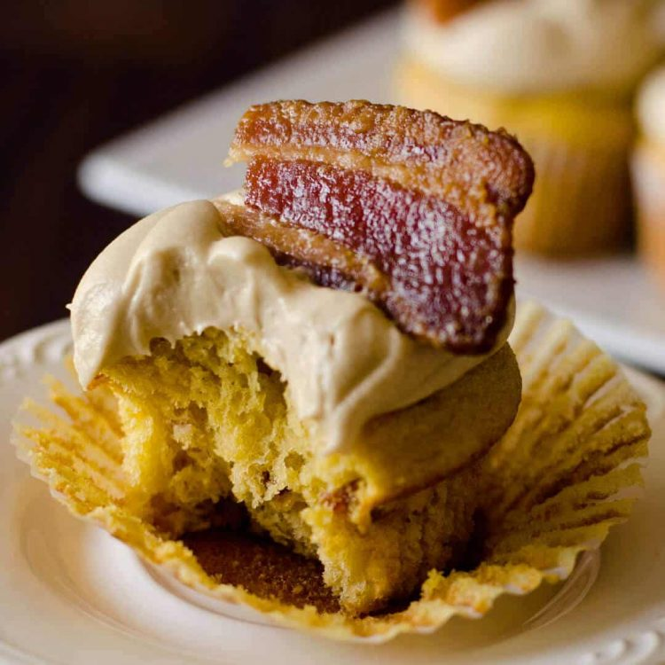 topped with candied bacon these maple bacon cupcakes with maple buttercream are oh so delicious