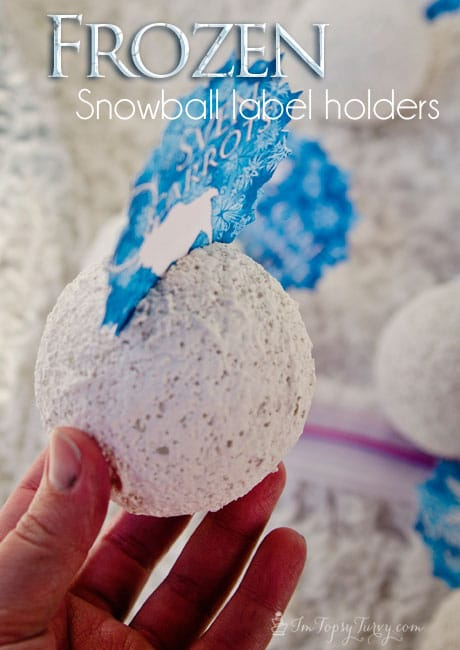 I used styrofoam balls and orange peel spray to create snowballs for decorating this Frozen birthday party