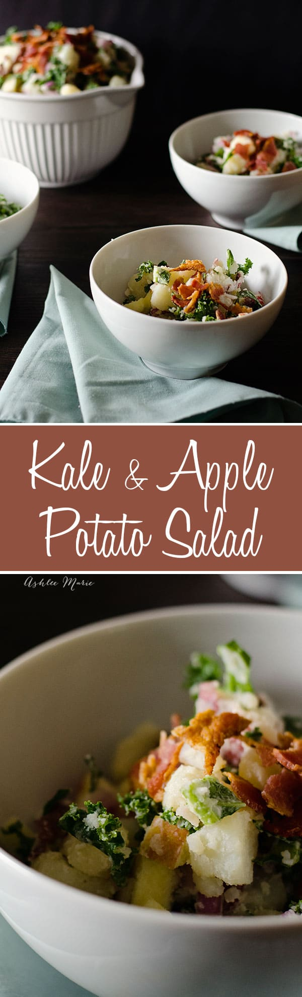 this kale and apple potato salad is a twist off your classic potato salad, a little bit of crunch, a little bit of sweet, and bacon