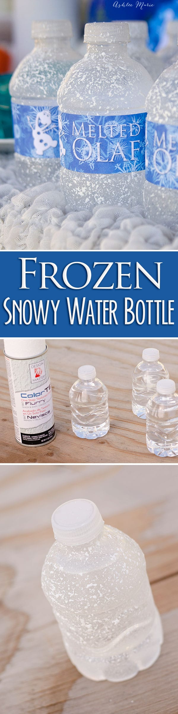 create frozen water bottles by adding texture to make them look snowy