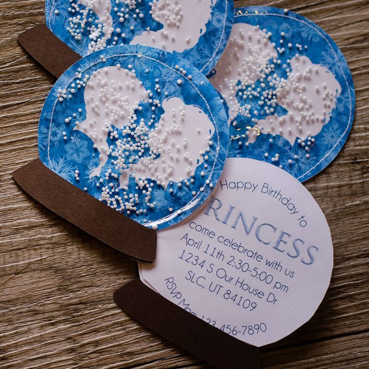 frozen snow globe birthday invitations