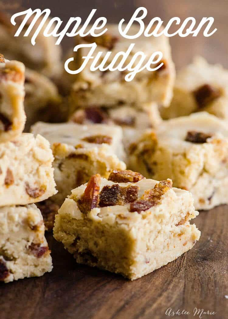 if you love maple and bacon together this fudge is for you, a sweet, creamy maple fudge with delicious chunks of candied bacon - YUM
