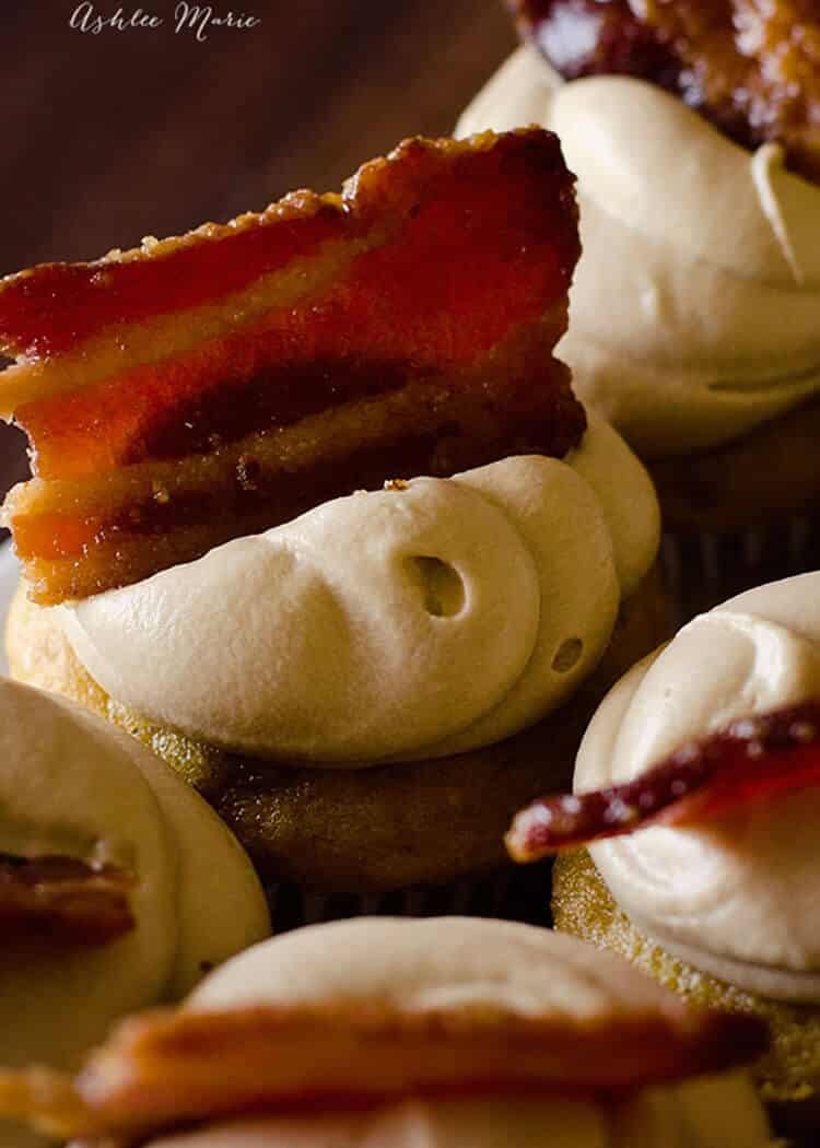 the secret to these maple bacon cupcakes is the candied bacon