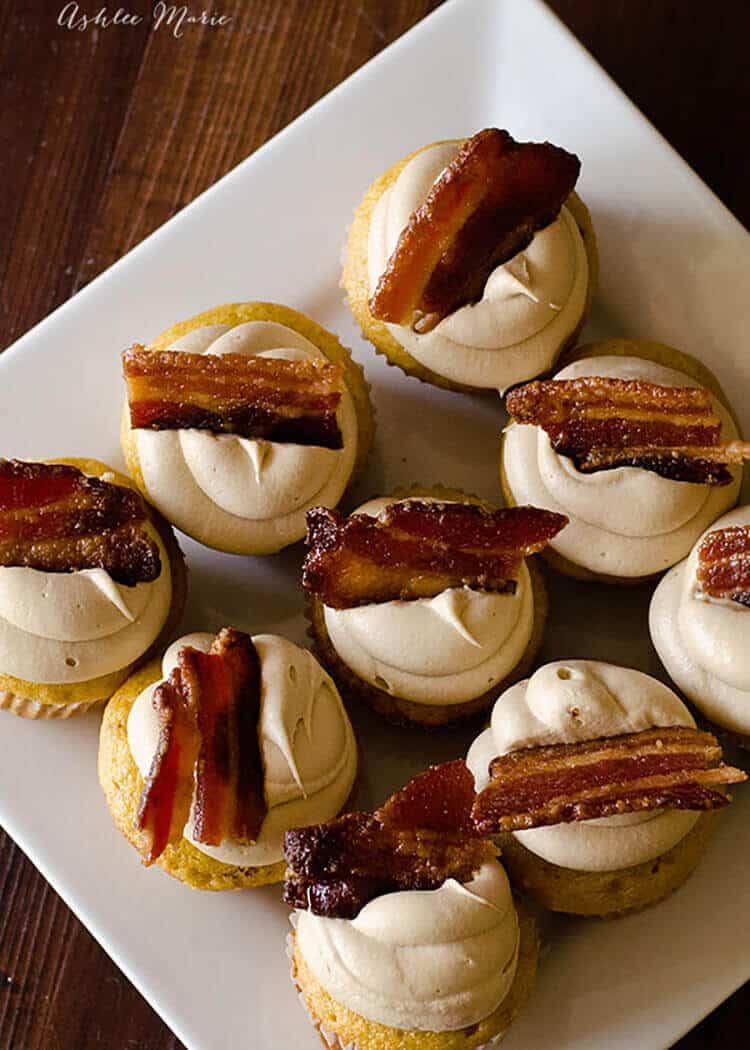 these easy maple bacon cupcakes are topped with my secret maple buttercream