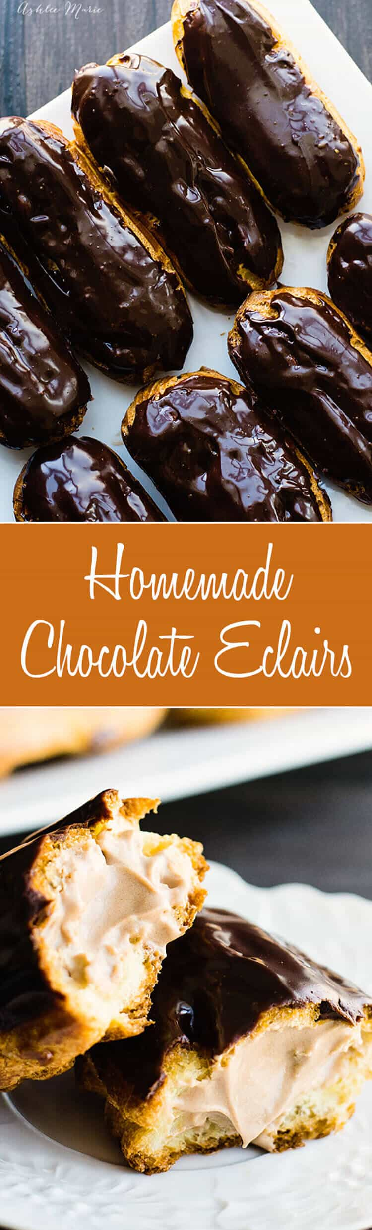 these homemade chocolate eclairs are simply divine - full recipes and video tutorial for the pate a choux dough, chocolate pastry cream filling and ganache glaze