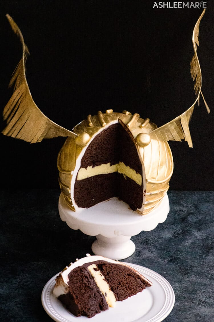 cheesecake inside Snitch cake