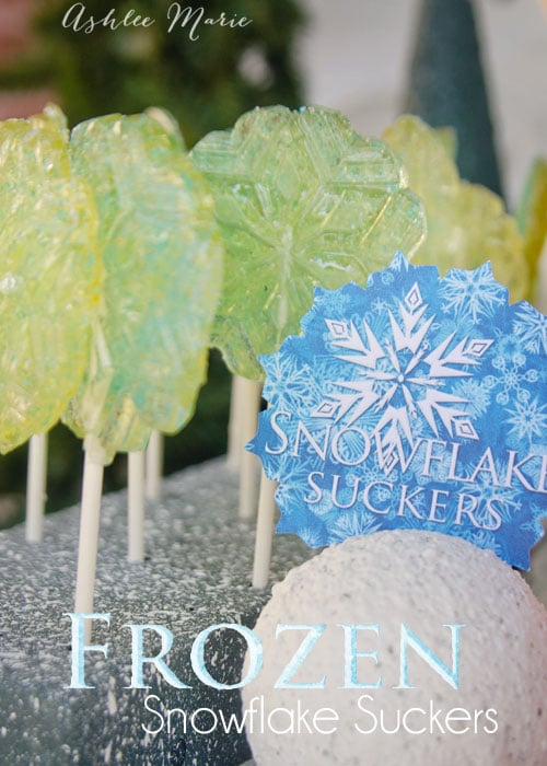 easy to make molded snowflake suckers for your winter or frozen birthday party