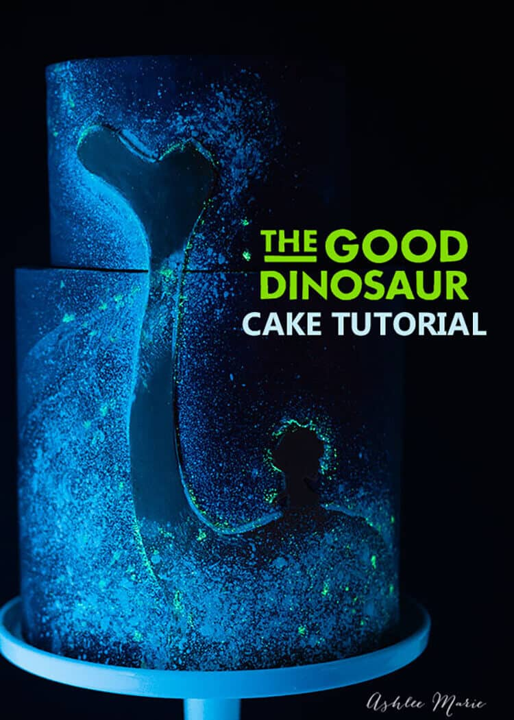 a full video tutorial for this glow in the dark cake, depicting Spot and Arlo from Disneys The Good Dinosaur Movie