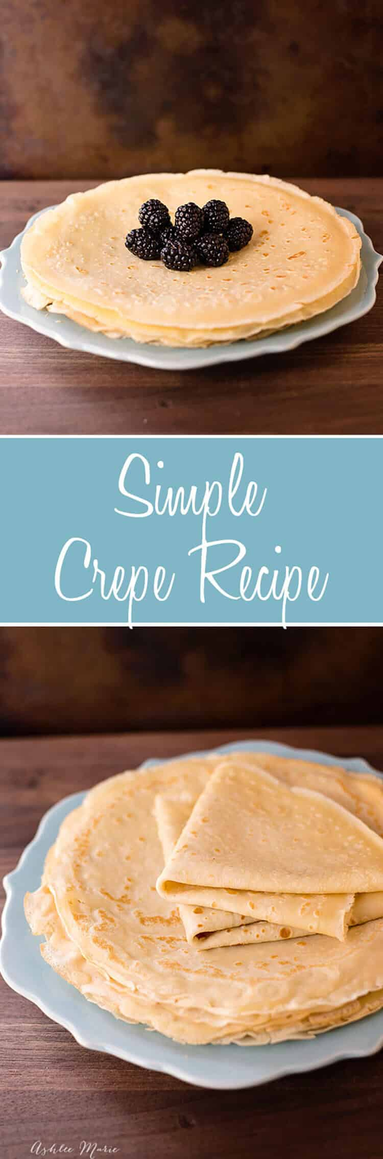a simple crepe recipe. They are easy to make, taste amazing and everyone loves them. Plus I have a full video tutorial