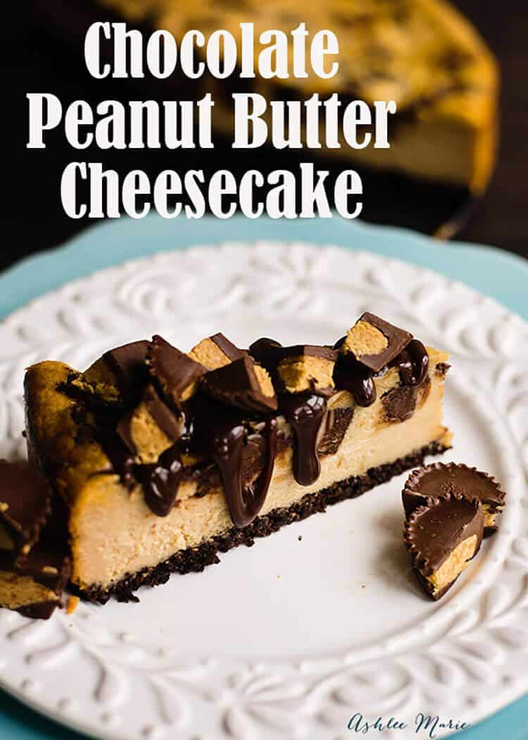 if you love peanut butter then this peanut butter cheesecake with a chocolate crust is amazing, mix in peanut butter cups and top with hot fudge and it goes from delicious t