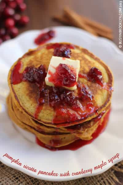 12 - Busy in Brooklyn - Pumpkin Ricotta Pancakes with Cranberry Syrup