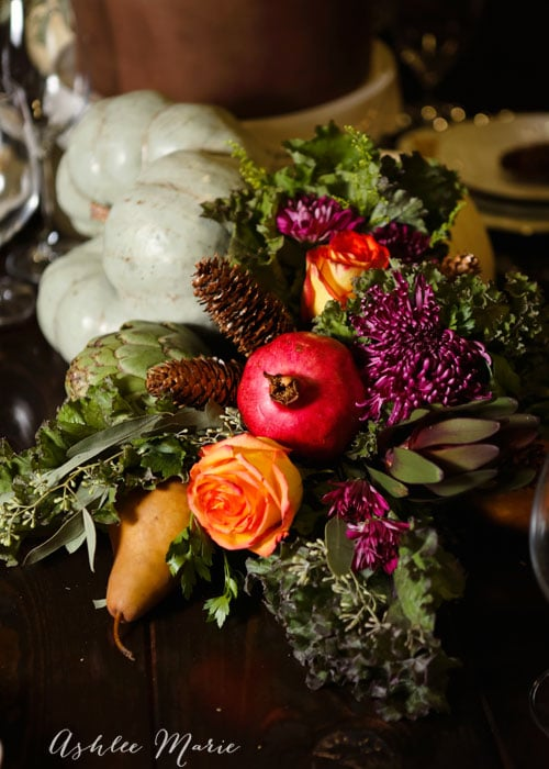 using edibles in the table arrangements creates a memorable centerpiece, pumpkins, artichokes, kale and more
