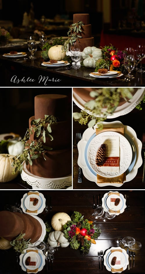combining edibles and mix and matching place settings creates a unique fall table setting