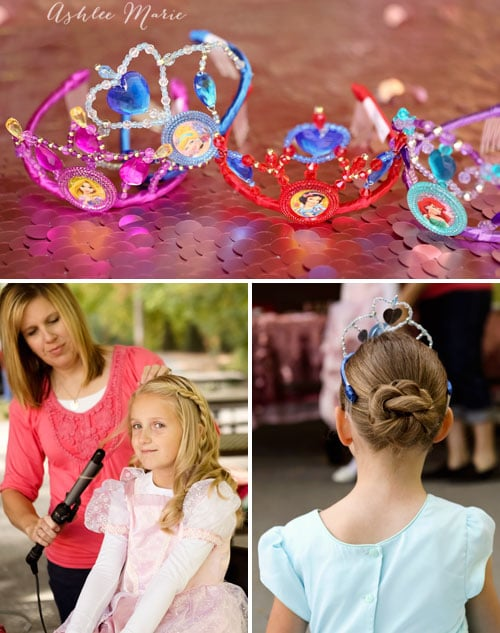 bringing in someone to do your party guests hair for an easy fun spa party, adding disney princess crowns helps the guests feel like princesses!