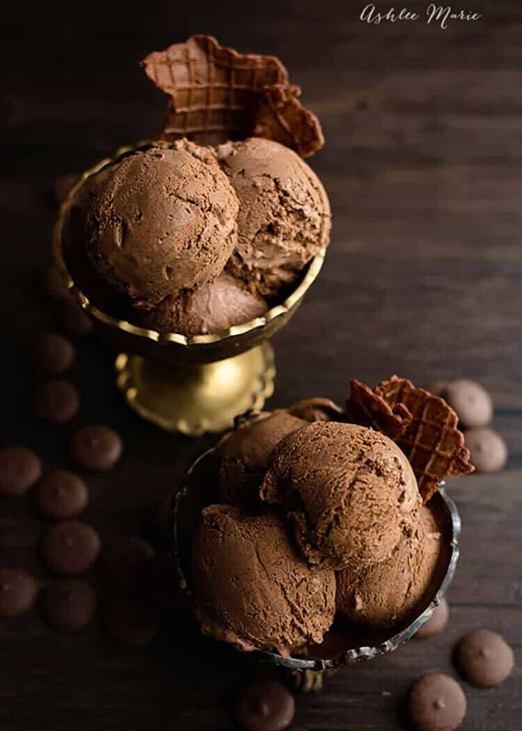 a decadent sweet treat, the best chocolate ice cream you will ever have, dark chocolate ganache ice cream recipe