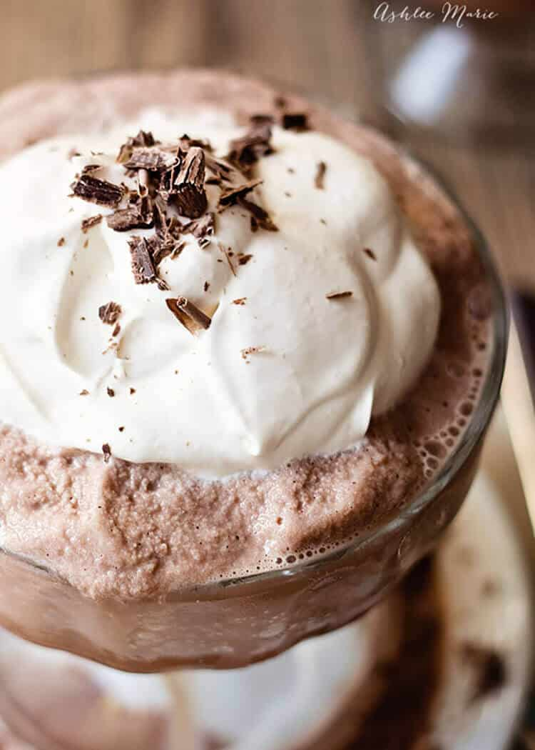 to get the perfect slushy consistency for this copycat frozen hot chocolate I use my ice cream maker and it is perfect