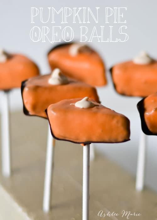Pumpkin Pie Sliced shaped OREO cookie ball pops