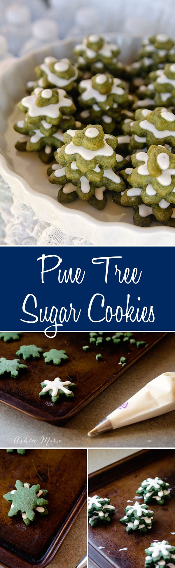 use green sugar cookies to create layered cookies to look like pine trees