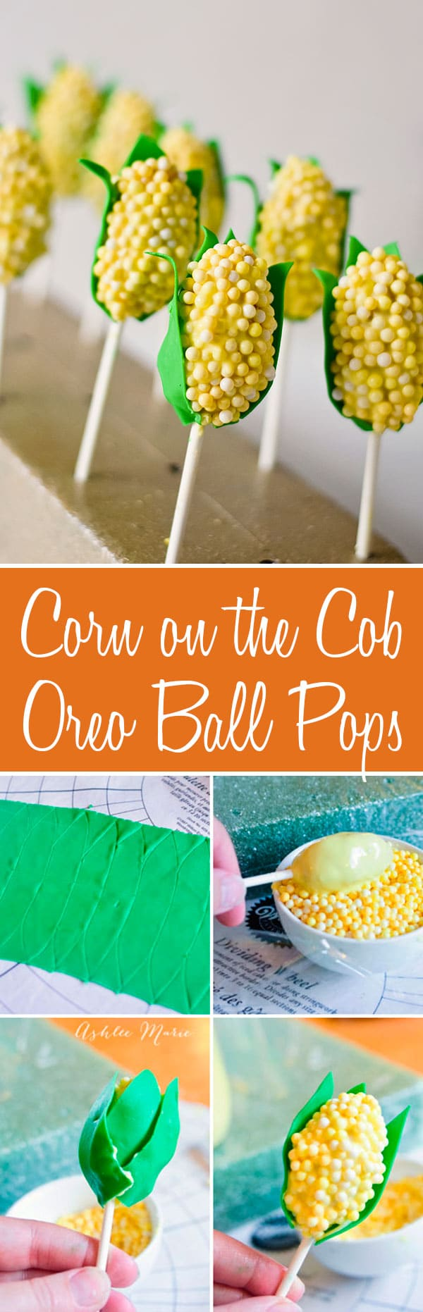 Corn on the cob shaped OREO cookie pops, full tutorial