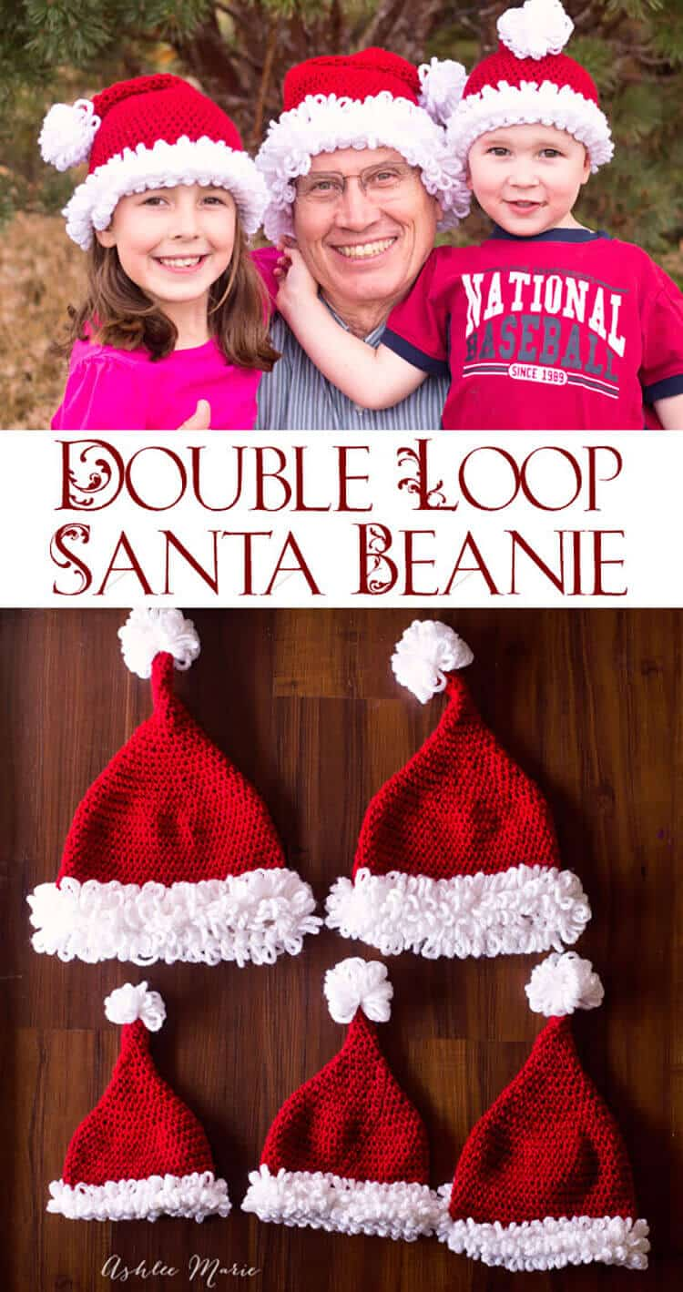 a free crochet pattern for this double loop edged santa beanie