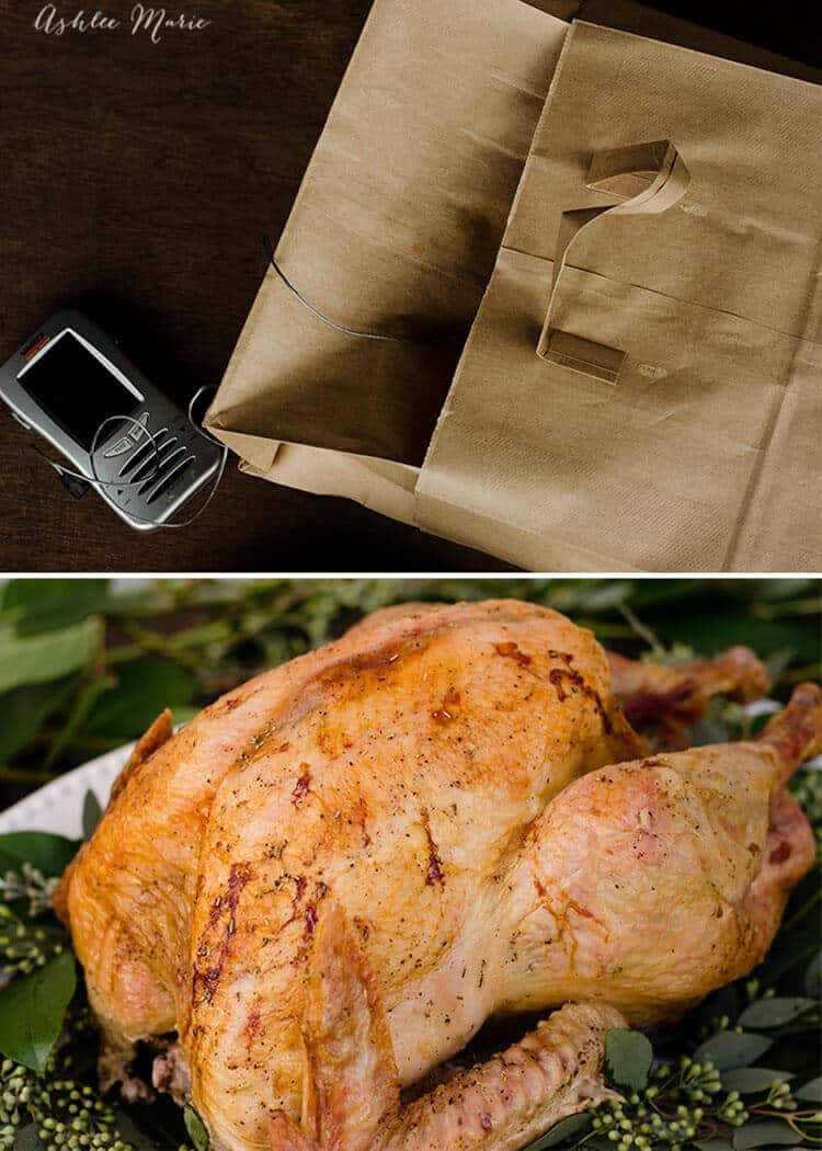 a good meat thermometer, 2 bags and some homemade compound butter are all you need for the perfect turkey - full of flavor, easy to make and super moist with a great skin