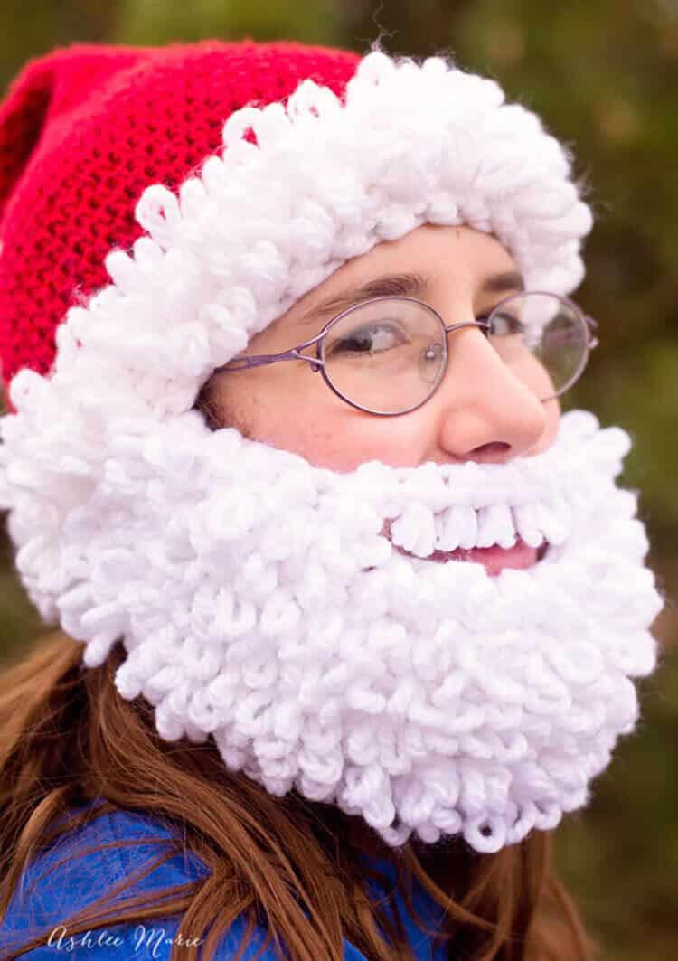 Double loop crochet santa beanie pattern infant to adult bearded santa beanie crochet pattern with a full double loop beard dt1010fo