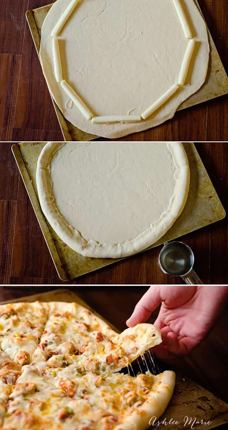 it couldn't be easier to make stuffed crust pizza, a great dough recipe and some mozzarella sticks