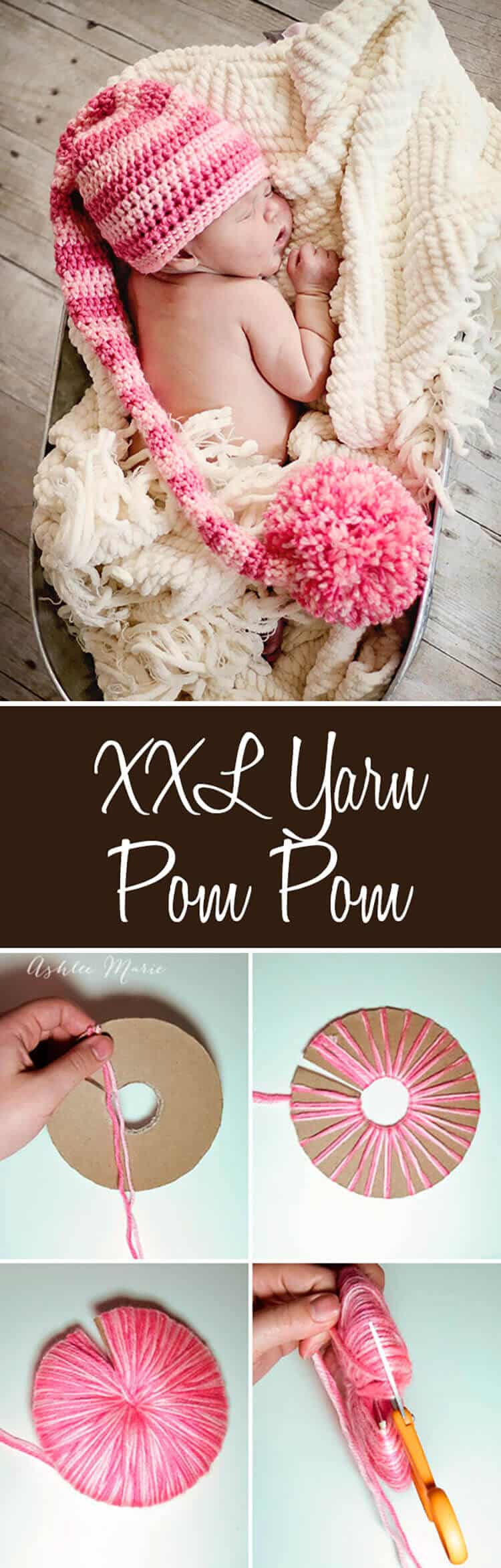 it's easy to make an extra EXTRA large yarn pom pom to add to any project