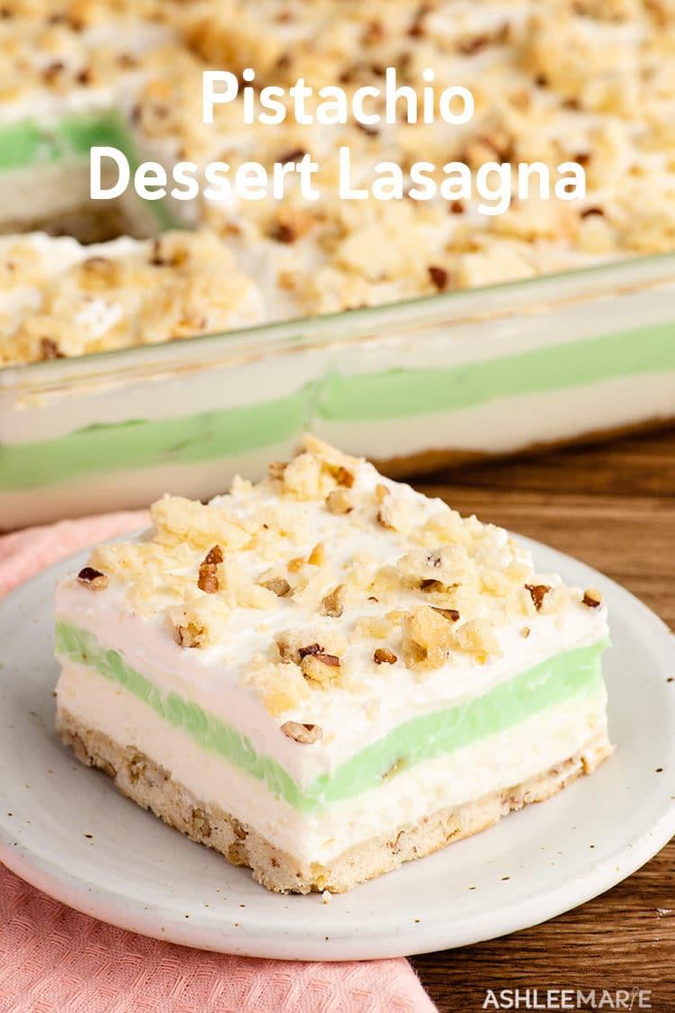 no bake cheesecake and pistachio pudding dessert lasagna