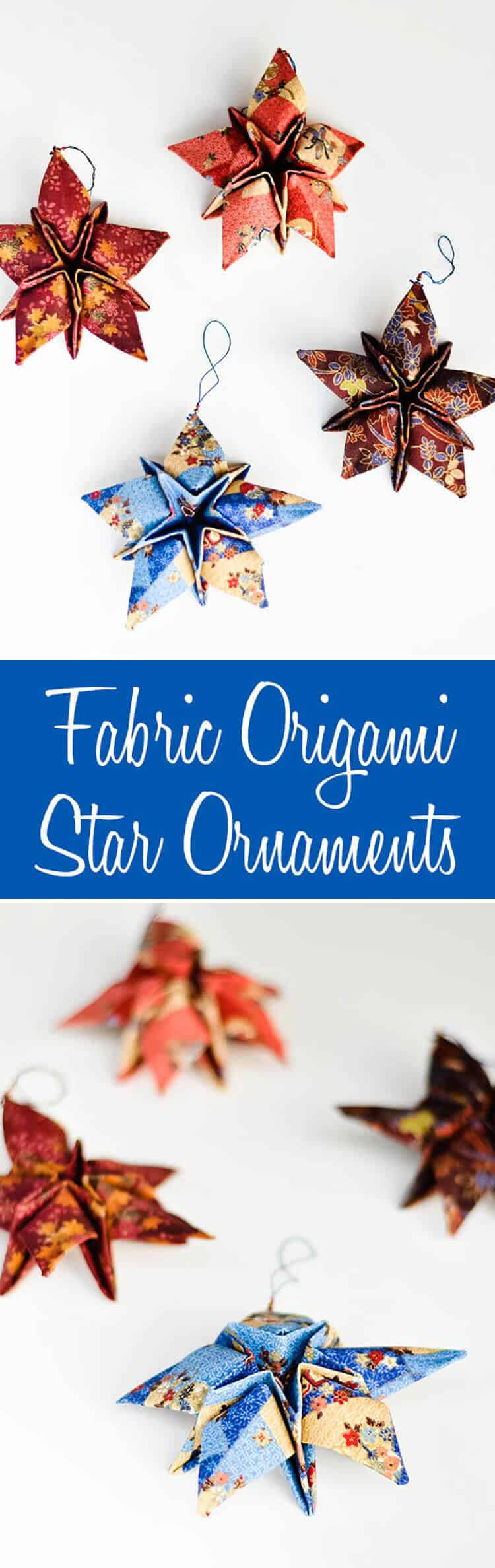 origami is fun, and using it with fabric and stiffener to create ornaments creates beautiful results like these origami stars! free tutorial