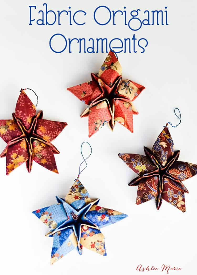 origami is fun, and using it with fabric and stiffener to create ornaments creates beautiful results
