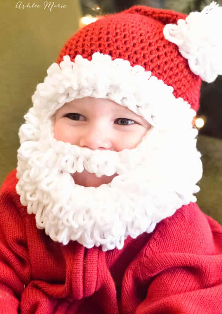 Double loop crochet santa beanie pattern infant to adult use the double loop crochet stitch to create these adorable bearded santa hats bankloansurffo Images