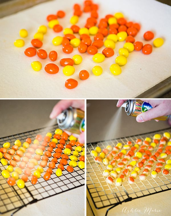 spray painting M&M's with edible gold for the Oscars