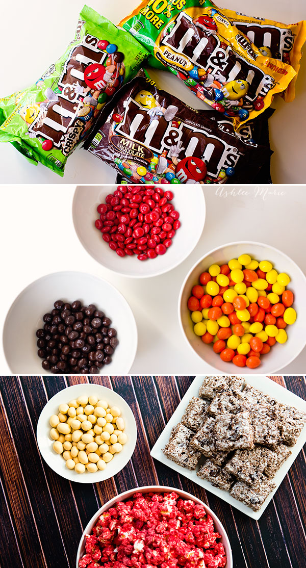 plain, peanut and crispy M&Ms are a great base for treats